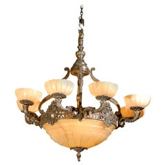 Antique Chandelier. Silver over bronze and alabaster chandelier