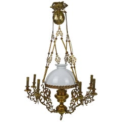 Antique Chandelier with Dragons / Chimeras, in Bronze and Brass, circa 1890