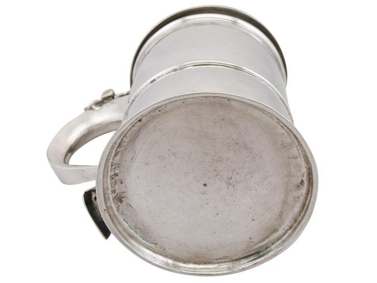 Antique Queen Anne Britannia Standard Silver Quart Tankard For Sale 5