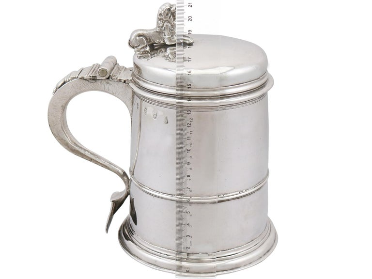 Antique Queen Anne Britannia Standard Silver Quart Tankard For Sale 6