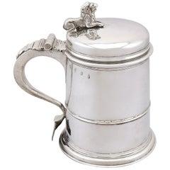 Antique Charles I Britannia Standard Silver Quart Tankard