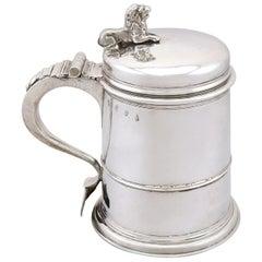 Antique Queen Anne Britannia Standard Silver Quart Tankard