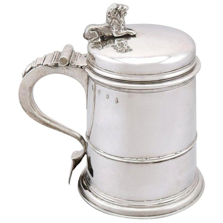 Antique Queen Anne Britannia Standard Silver Quart Tankard For Sale
