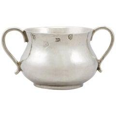 Antique Charles II 1663 Sterling Silver Baby Porringer