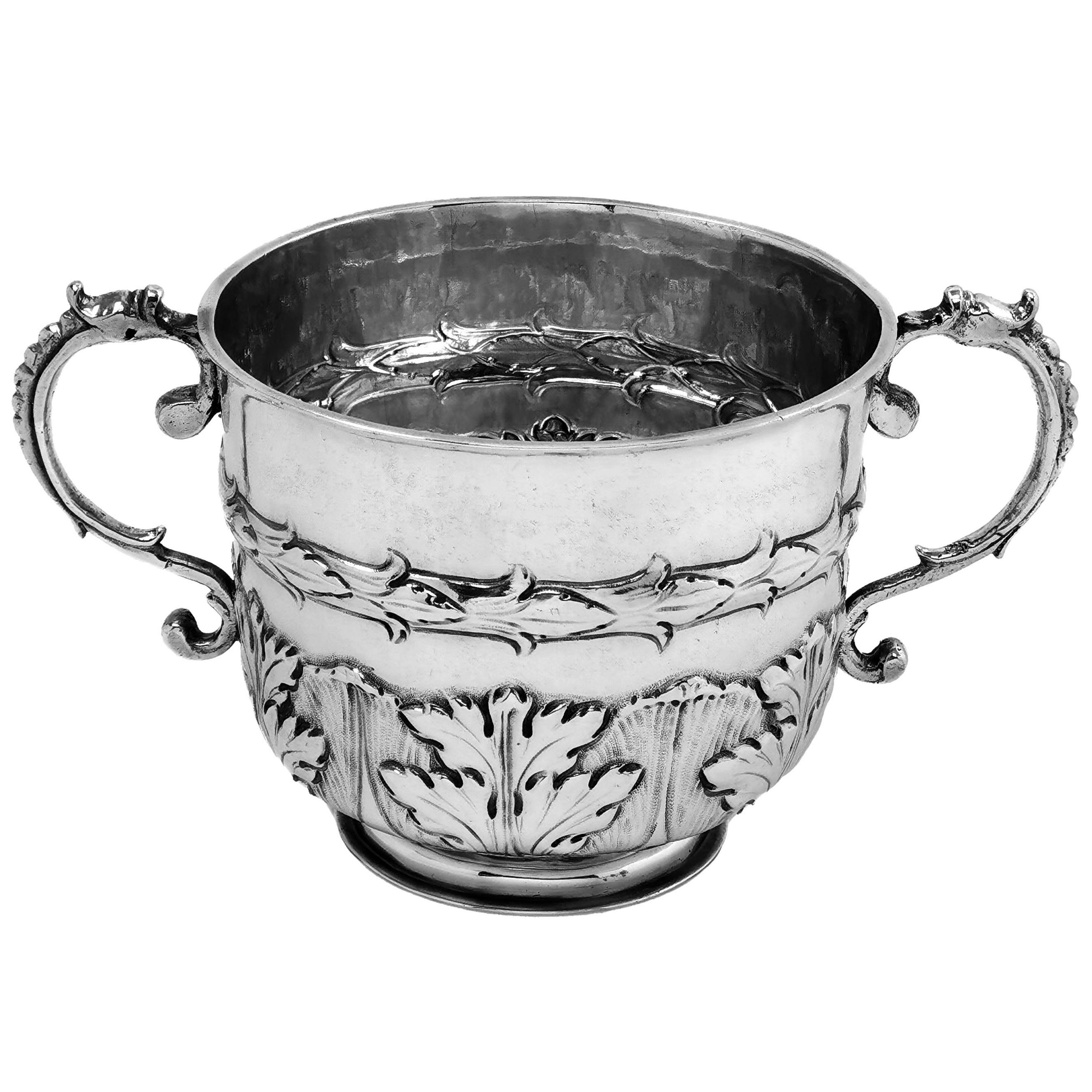 Antique Charles II 17th Century Sterling Silver Porringer Cup, 1679