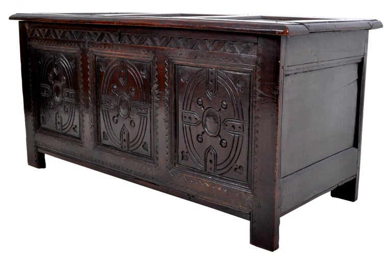English Antique Charles II Carved Oak Coffer / Chest / Trunk, circa 1670 For Sale