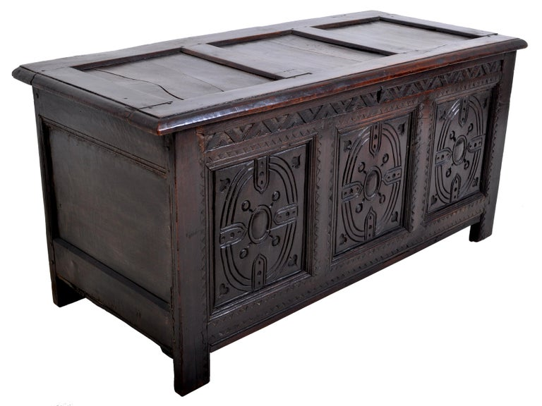 Hand-Carved Antique Charles II Carved Oak Coffer / Chest / Trunk, circa 1670 For Sale