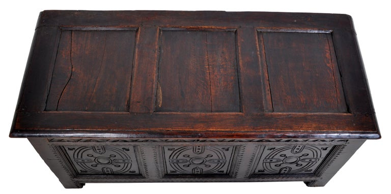 Late 17th Century Antique Charles II Carved Oak Coffer / Chest / Trunk, circa 1670 For Sale