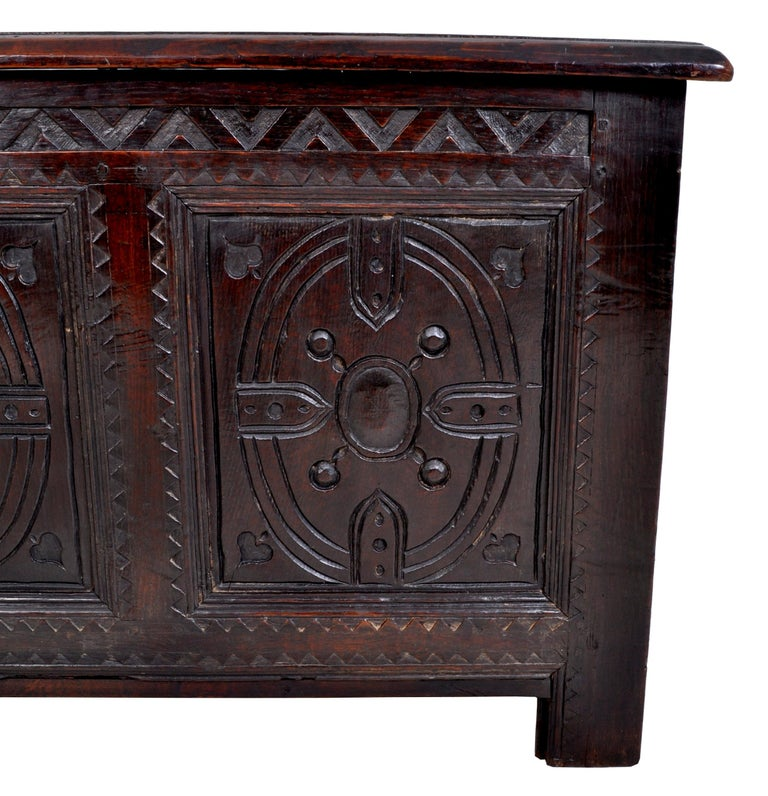 Antique Charles II Carved Oak Coffer / Chest / Trunk, circa 1670 For Sale 2