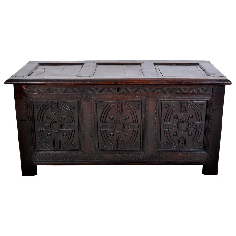 Antique Charles II Carved Oak Coffer / Chest / Trunk, circa 1670 For Sale