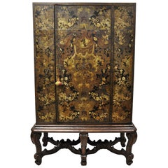 Antique Charles II Georgian Japanned Carved Lacquer China Cabinet on Base