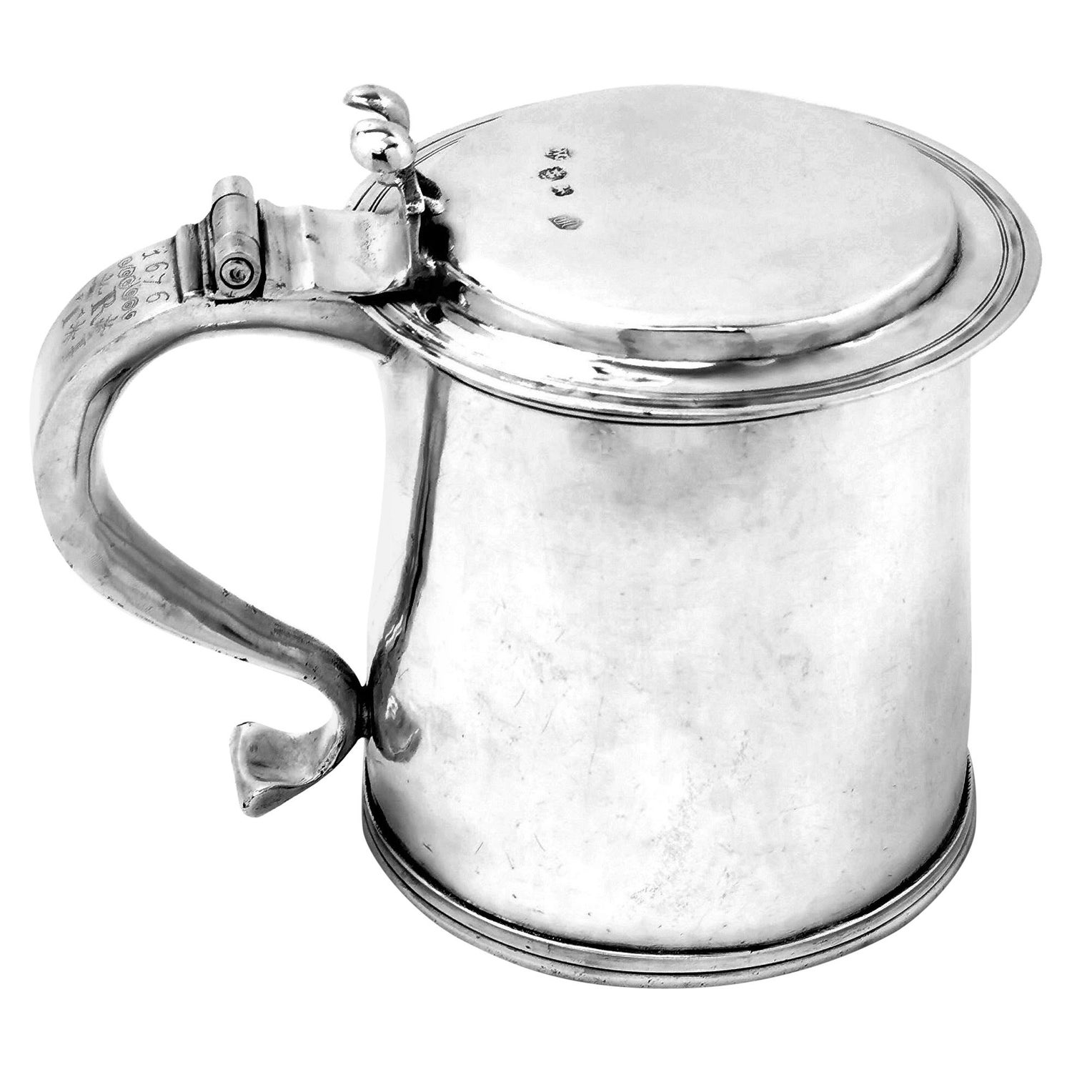 Antique Charles II Sterling Silver Lidded Tankard Beer Mug 1675, 17th Century