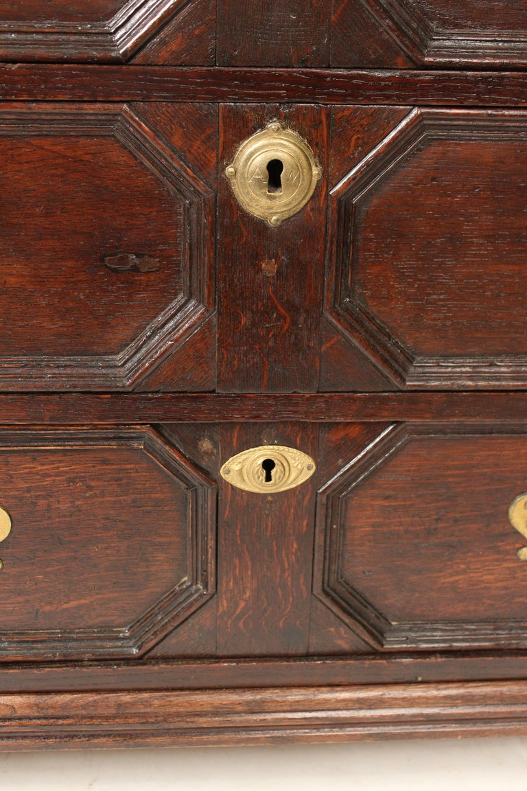 Antique Charles II Style Oak Chest of Drawers For Sale 3