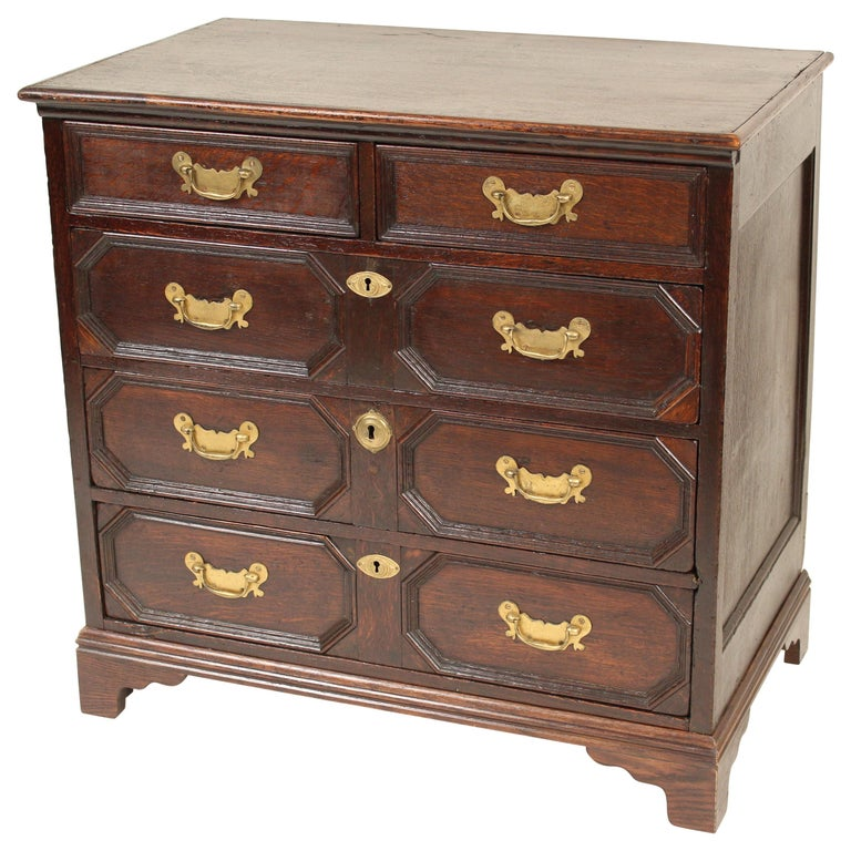 Antique Charles II Style Oak Chest of Drawers For Sale