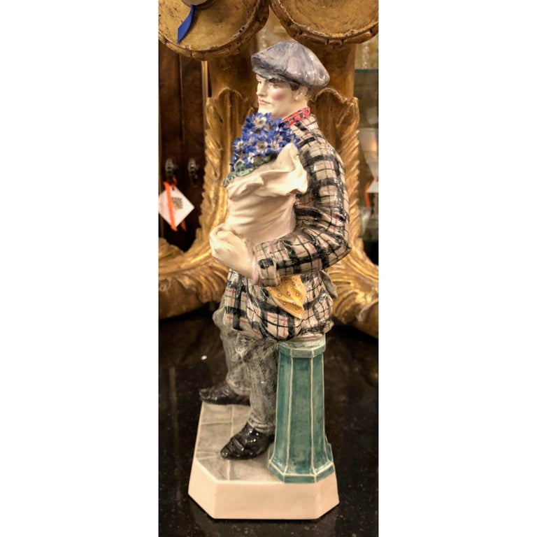 Antique Charles Vyse British Studio Art Pottery figure of cineraria boy, circa 1925.