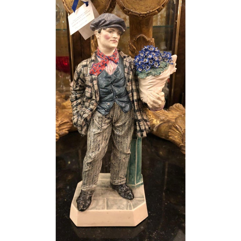 Charles Vyse British Studio Art Pottery Figure of Cineraria Boy, circa 1925 In Excellent Condition For Sale In LOS ANGELES, CA