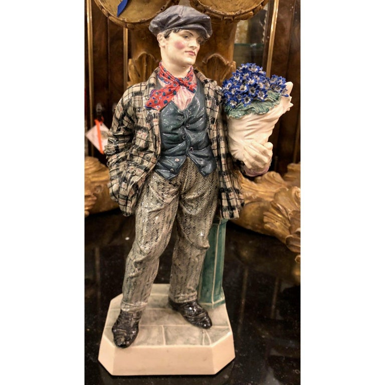 Charles Vyse British Studio Art Pottery Figure of Cineraria Boy, circa 1925 For Sale 1