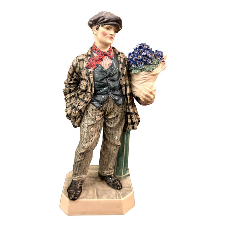 Charles Vyse British Studio Art Pottery Figure of Cineraria Boy, circa 1925 For Sale