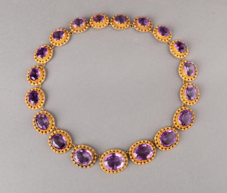 Antique Charles X Gold and Amethysts Necklace   Very beautiful necklace, made in France circa 1830, Charles X era, circa 1830. The gold mark is the Ram Head (mark of that time). Gold 18k Made in yellow and green gold 18k and set with Amethysts. The