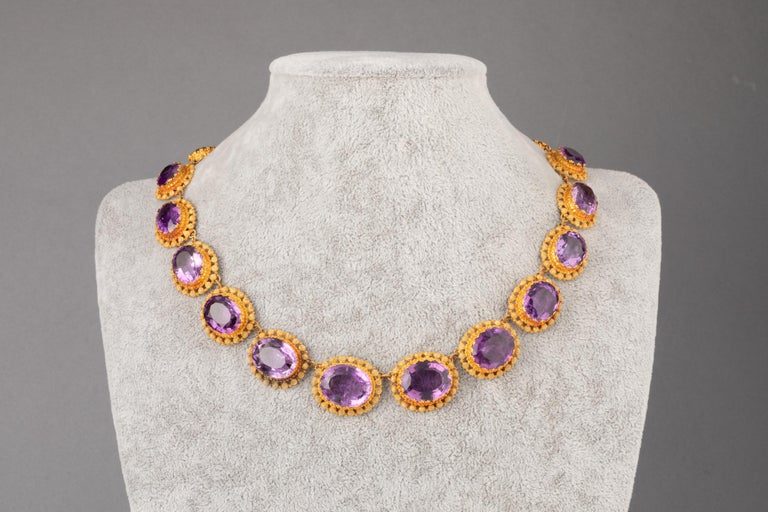 Antique Charles X Gold and Amethysts French Necklace In Good Condition For Sale In Saint-Ouen, FR