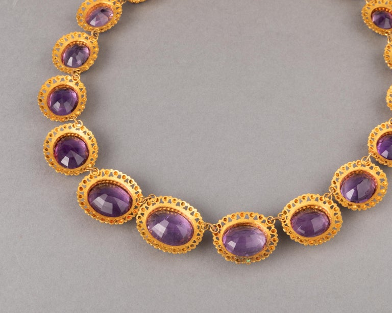 Antique Charles X Gold and Amethysts French Necklace For Sale 4
