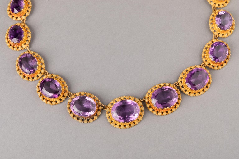 Antique Charles X Gold and Amethysts French Necklace For Sale 5
