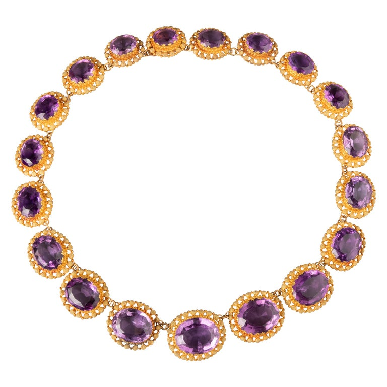 Antique Charles X Gold and Amethysts French Necklace For Sale
