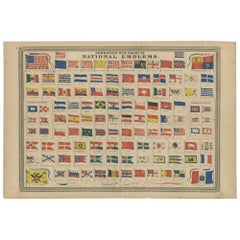 Antique Chart of National Emblems by Johnson, 1872