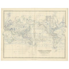 Antique Chart of the World by A.K. Johnston, 1865