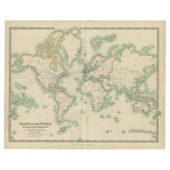 Antique Chart of the World by Johnston '1909'