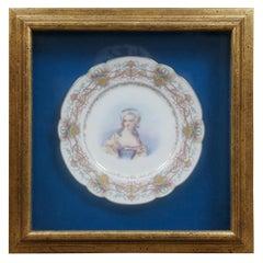 Antique Chateau des Tuileries Sevres Porcelain Portrait Plate French Framed