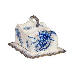 Antique Cheese Keeper, Decorative, Dish, John Maddock, Orchid, Victorian