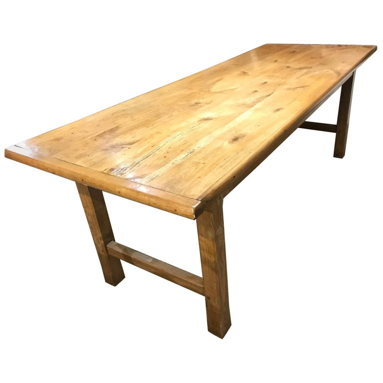 Antique Cherry Farmhouse Table With H Stretcher For Sale