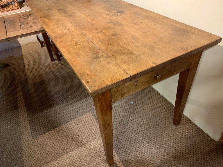 French Provincial Antique Cherry Tapered Leg Farmhouse Table