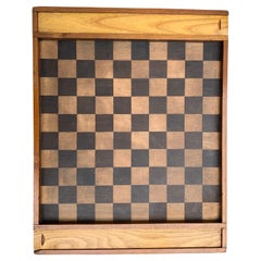 Antique Chess Chequers Game Carved Wood