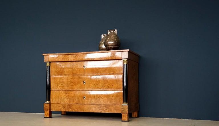 Wood Antique Chest of Drawers, circa 1815, German Biedermeier, Restored For Sale