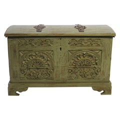 Antique Chest with Carvings and Original Paint, 1740s