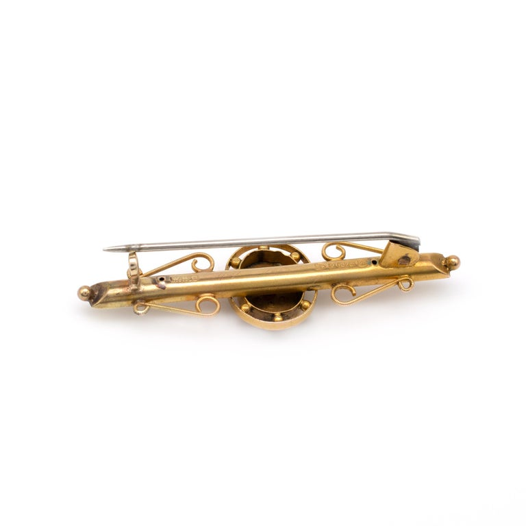 Antique Chester Gold Bar Brooch, Sapphire and Pearls, Hallmarked Dated 1904 In Good Condition For Sale In Preston, Lancashire