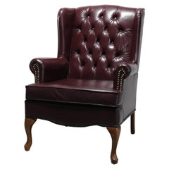 Antique Chesterfield Tufted Leather Wing Back Chair, 20th C