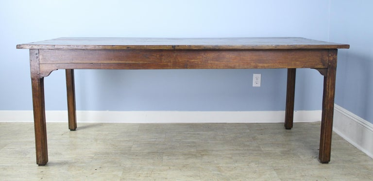 French Antique Chestnut Farm Table with Decorative Edge For Sale
