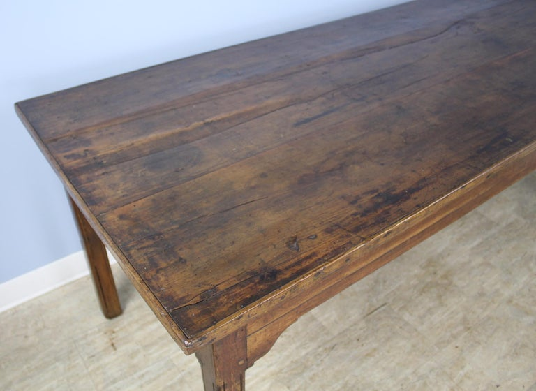 Late 19th Century Antique Chestnut Farm Table with Decorative Edge For Sale