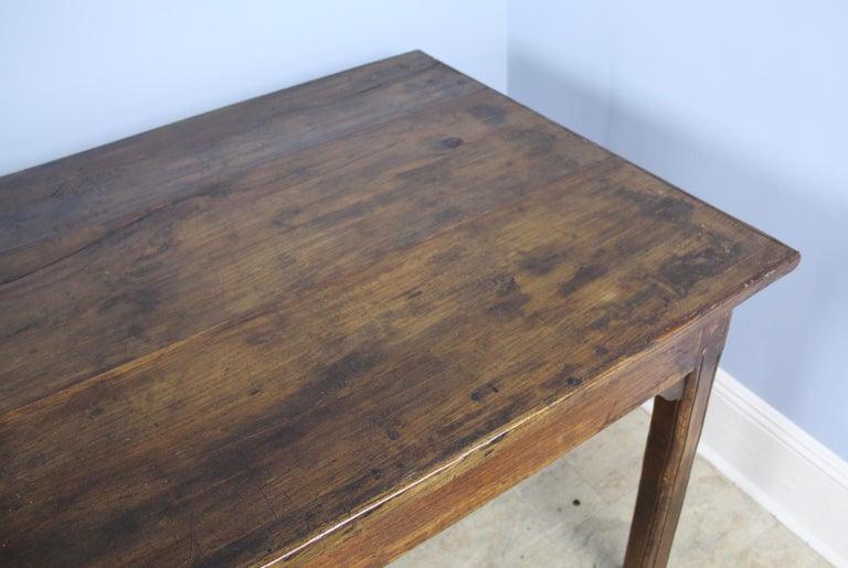 Antique Chestnut Farm Table with Decorative Edge For Sale 1
