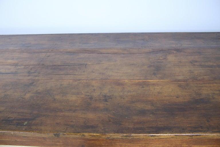 Antique Chestnut Farm Table with Decorative Edge For Sale 2