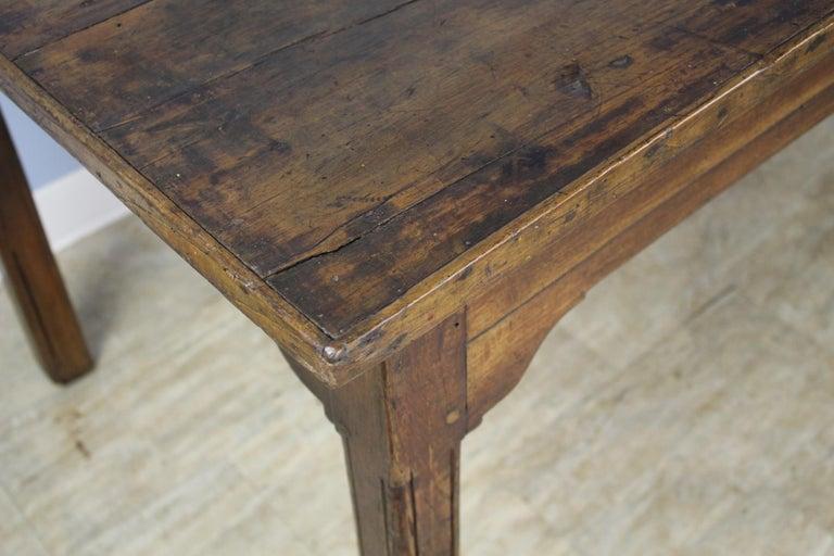 Antique Chestnut Farm Table with Decorative Edge For Sale 4