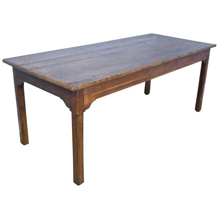 Antique Chestnut Farm Table with Decorative Edge For Sale