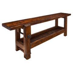 Antique Chestnut French Carpenter's Bench