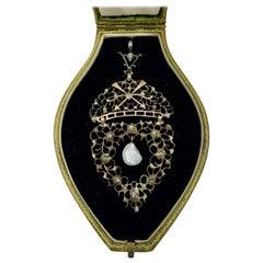 Antique Child & Child Renaissance Revival Rose Cut Diamond Baroque Pearl Pendant