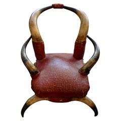 Antique Children's Horn Chair Upholstered in Leather