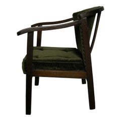 Antique Child's Chair, 1910-1940, Dark Brown, Velvet Cushion, Green