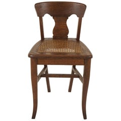 Antique Child's Chair, Tiger Oak Cane Seat, Canada 1920, B2013